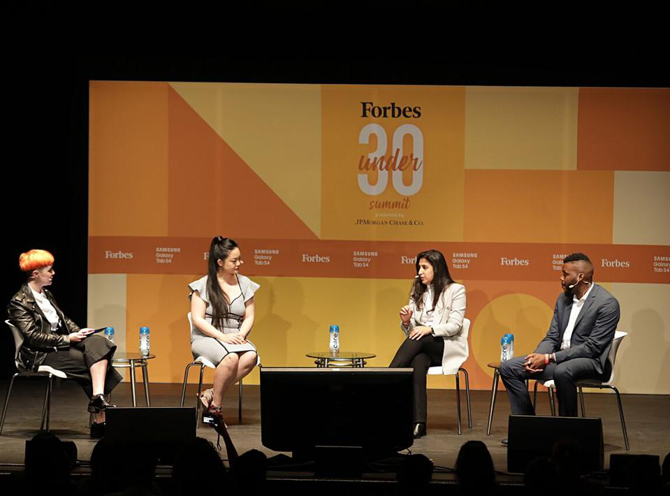 Forbes associate editor Natalie Robehmed, Rise founder and CEO Amanda Nguyen, nVision Medical founder and CEO Surbhi Sarna, and Stockton, California mayor Michael Tubbs onstage at the 2018 Forbes Under 30 Summit in Boston.