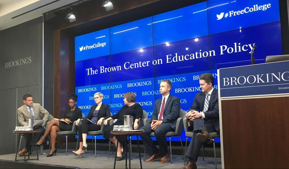 "Recently, Brookings Institute hosted a discussion on ""The Future of Free College"" with panelists Dr. Martha Kanter, Dr. Zakiya Smith Ellis, Dr. Douglas Harris, and Dr. Beth Akers on the national landscape of the research and policy of the free"