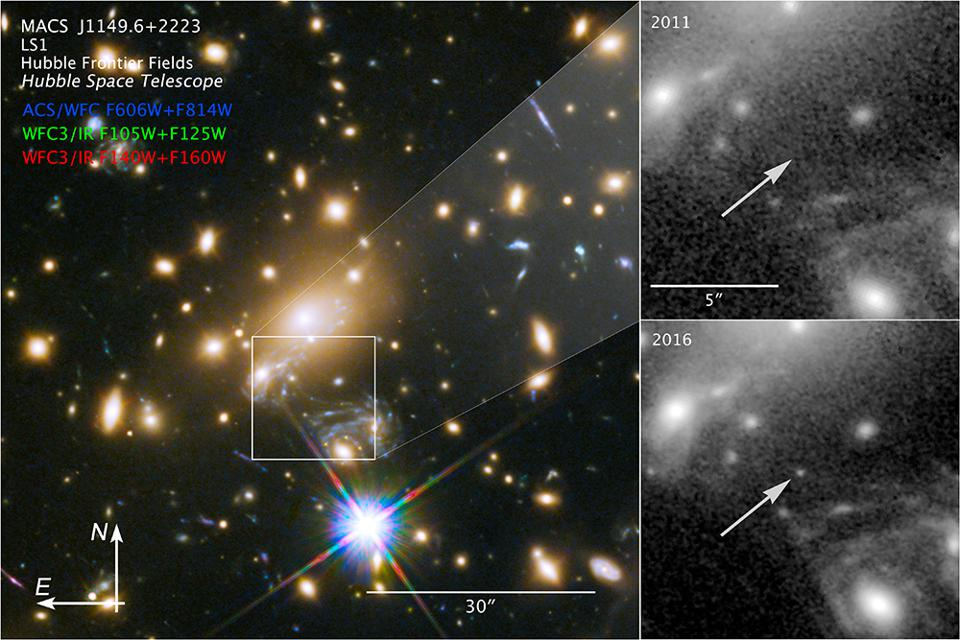 A distant lensed star, visible only from the effect of Einstein's gravitational lensing.