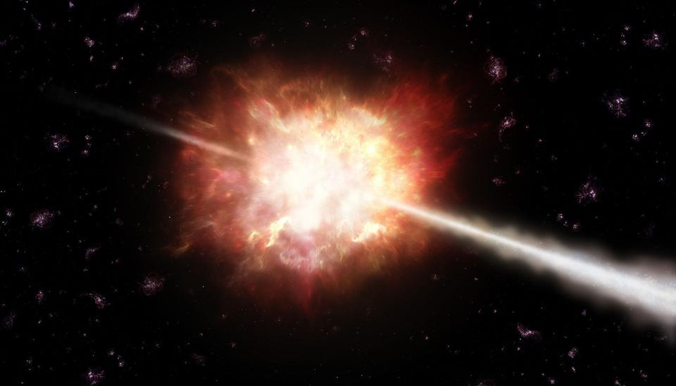 Illustration of the most distant gamma-ray burst ever detected, GRB 090423.