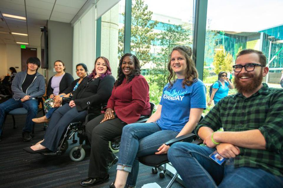 "Carin Taylor and others participating in ""Stepping Out of Your Comfort Zone in the Workplace,"" part of a speaker series hosted by the Women @ Workday employee belonging council."