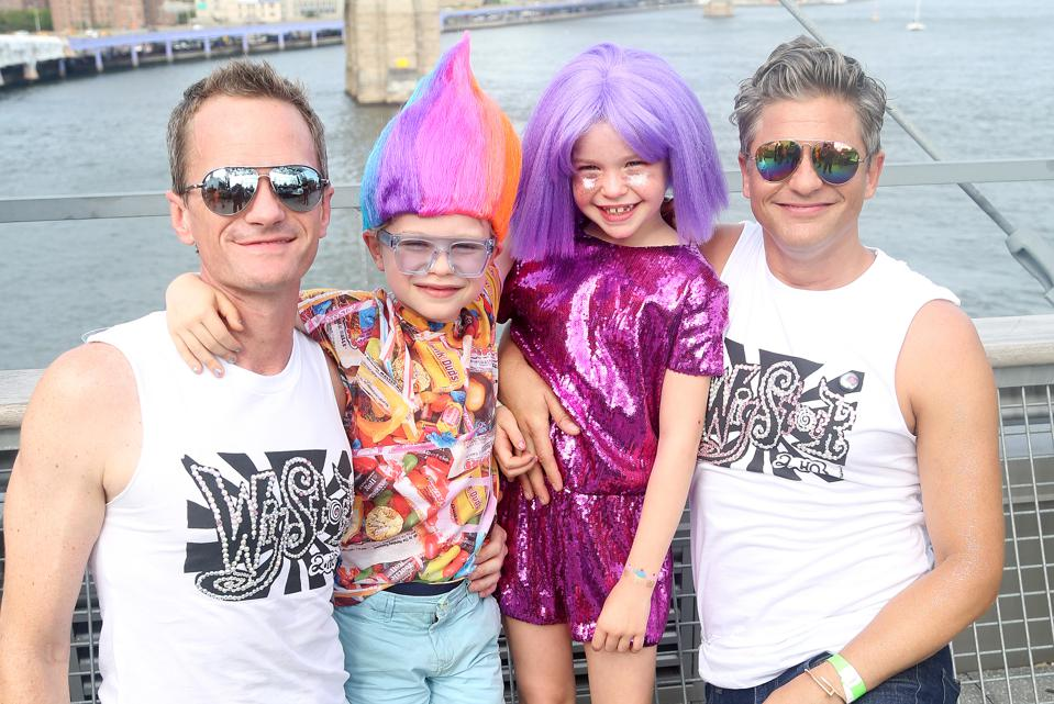 Neil Patrick Harris and David Burtka pose with their twins, Gideon Scott and Harper Grace, at Wigstock 2.HO last month.