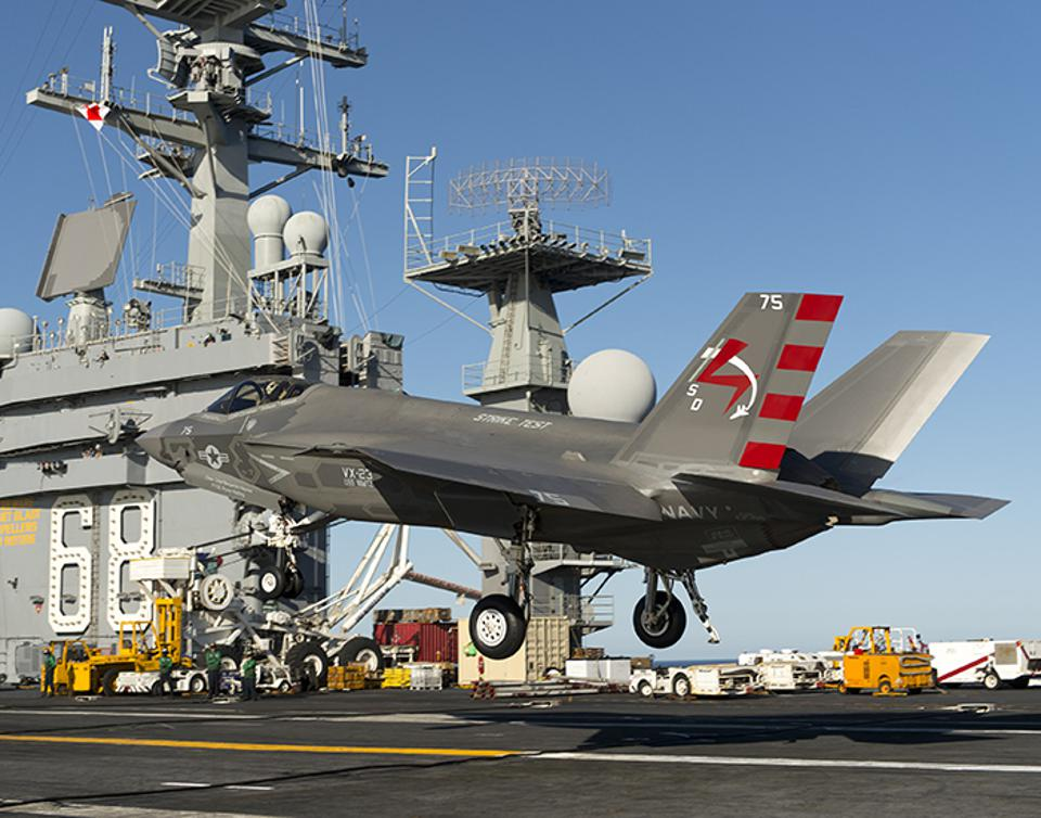 F-35 Operations aboard the USS Nimitz aircraft carrier.