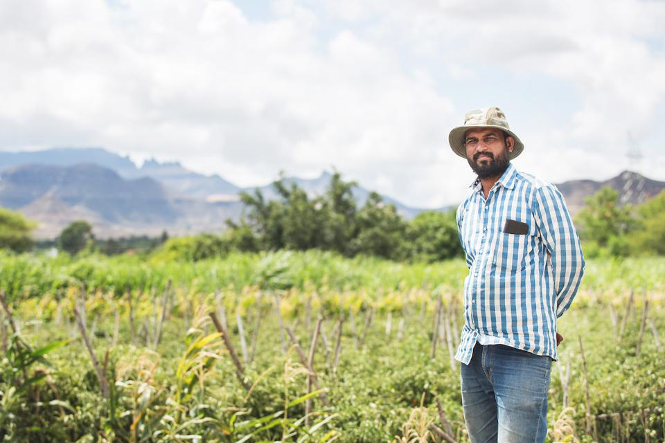 Sugarcane and tomato farmer Sandip Shinde, 34, uses the Plantix app to check his crops for diseases. His images are helping Peat build a bigger picture about the health of crops across India.