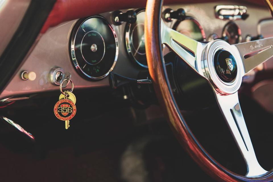Start Your Engine: Brundage's key chain has her number.