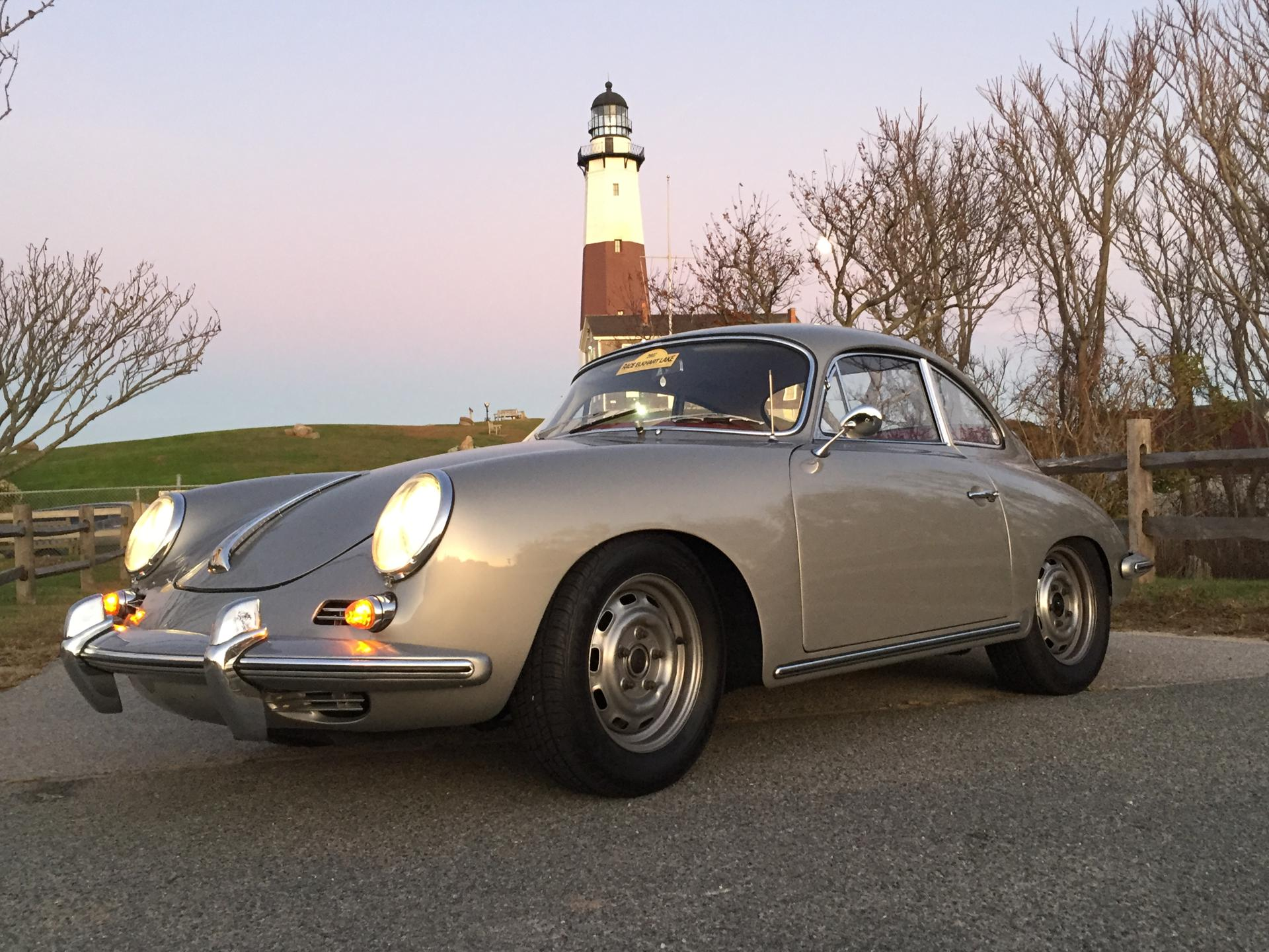 Shining Bright: Brundage's 356 at the Montauk Lighthouse. She's already put more than 7,000 miles on the car this year.