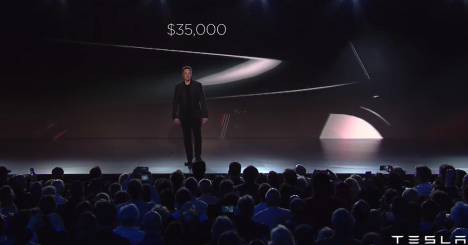 Elon Musk at Tesla Model 3 unveiling on March 31, 2016.