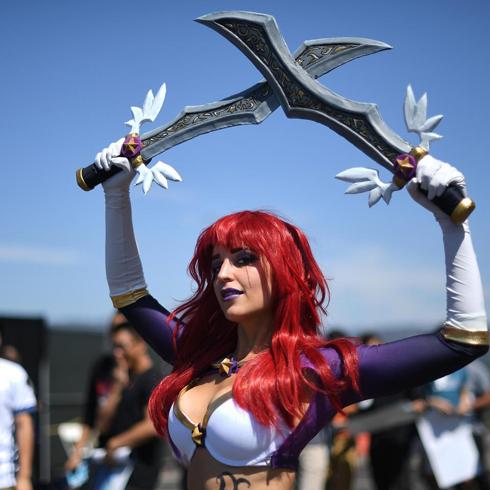 OAKLAND, CA - SEPTEMBER 09: A cosplay actress poses at the 2018 North American League of Legends Championship Series Summer Finals between Cloud9 and Team Liquid at ORACLE Arena on September 9, 2018 in Oakland, California.