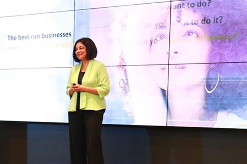 """""""The most common benefit [of SAP Leonardo] is productivity savings and optimization, when we look at a business process ... that we automate with machine learning,"""" SAP's Mala Anand said at SAP Labs Latin America."""