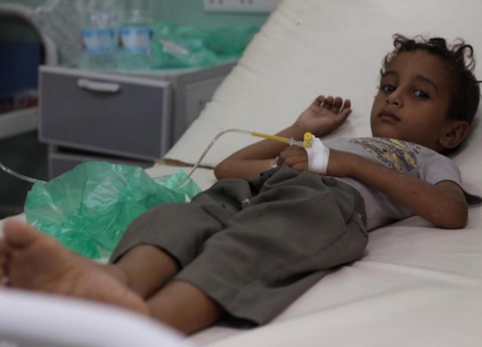 On October 1, a boy was treated for a suspected case of cholera at a UNICEF-supported hospital in Hudaydah, Yemen.