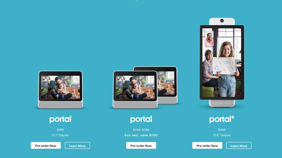 Prices and images of Facebook's Portal device.