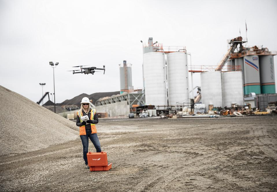 A Mavic 2 Pro integrated into Kespry's stockpile measurement system.