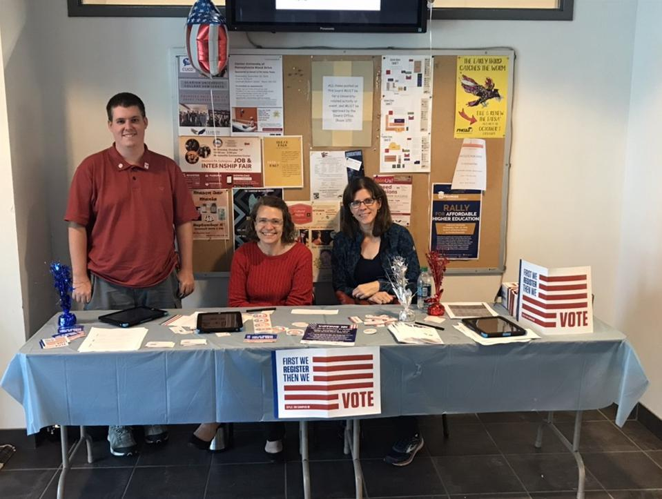 Voter Registration table in the Library at Clarion University on National Voter Registration Day.