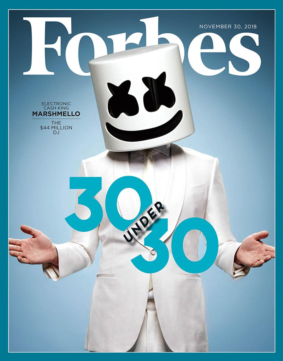 The November 30, 2018 issue of Forbes featuring Marshmello.