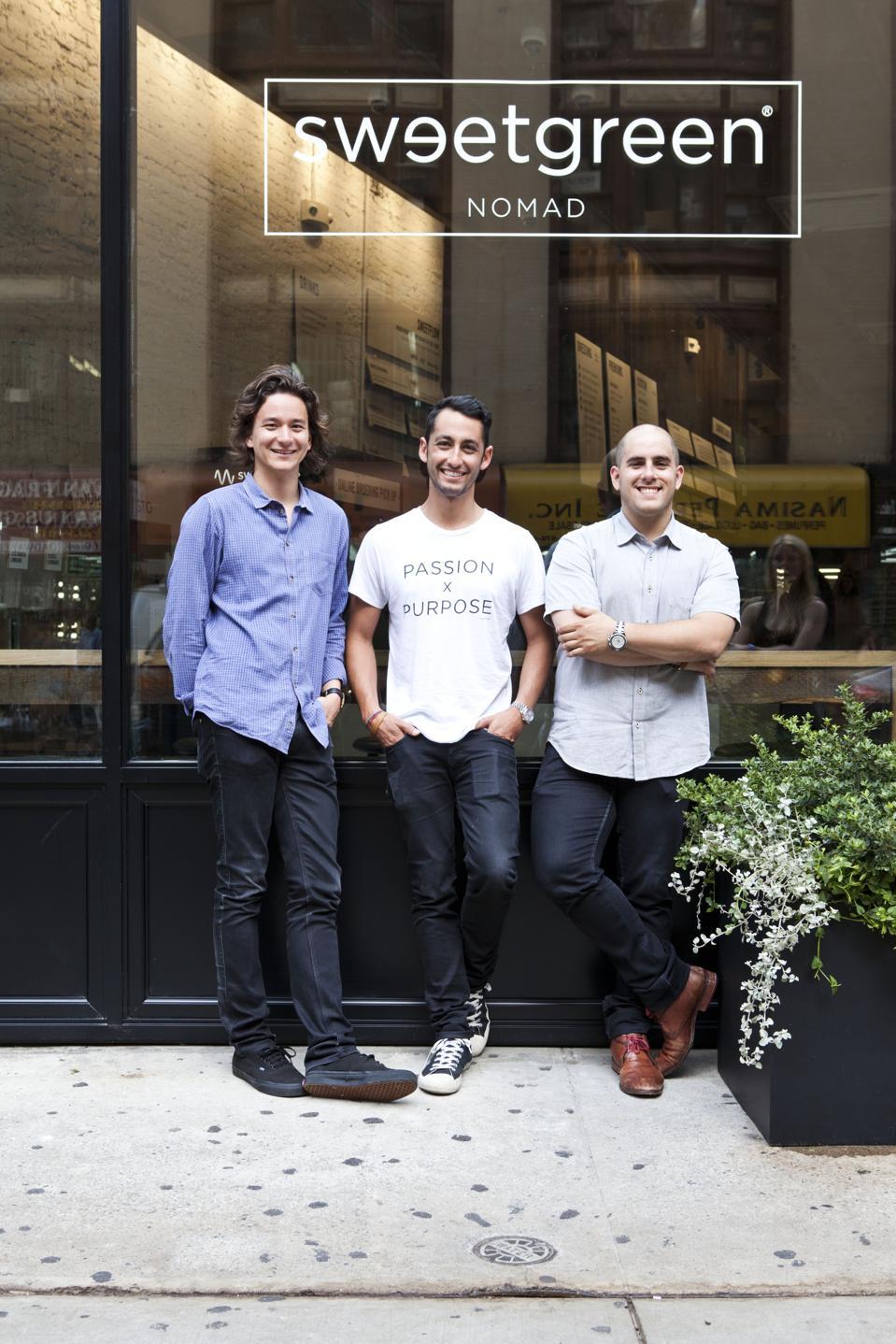 Sweetgreen cofounders (and Forbes Under 30 alumni) Nathaniel Ru, Jonathan Neman and Nicolas Jammet.