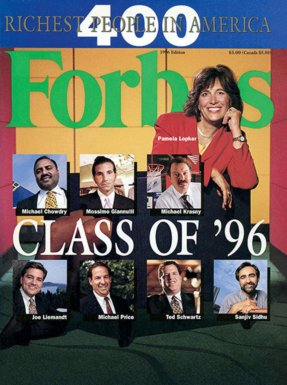 Joe Liemandt made the cover of Forbes twice in 1996, including that year's Forbes 400 issue. He's at the bottom left.