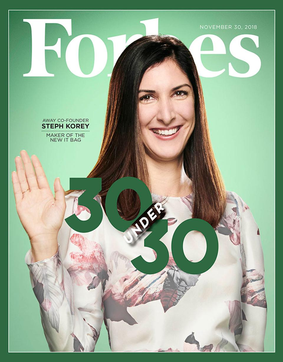 The November 30, 2018 issue of Forbes featuring Away's Steph Korey.