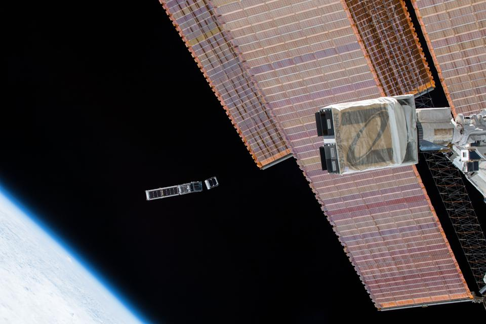 Satellites deployed from the NanoRacks launcher on the International Space Station