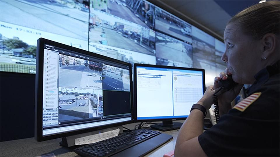 At the Memphis Real Time Crime Center, Sgt. Barbara Adams monitors various cameras focused on areas of downtown Memphis.