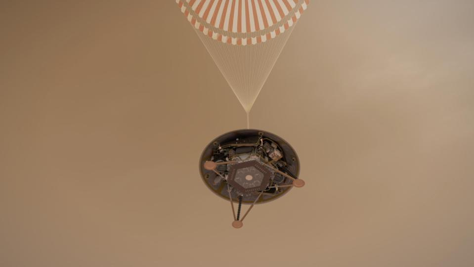 Simulation of a portion of InSight's Mars landing.
