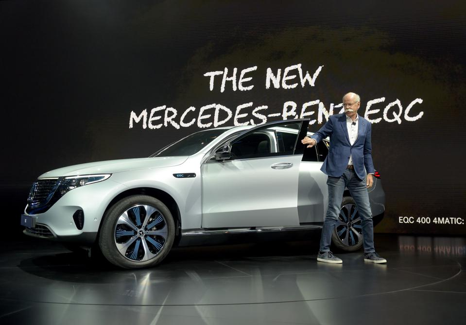 Mercedes claims its all-wheel-drive EQC will have an estimated 280-mile range when it goes on sale in 2020.