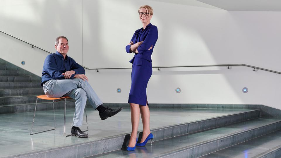 Hal Barron (seated), Chief Scientific Officer, GlaxoSmithKline, and Emma Walmsley, Chief Executive Officer, are trying to revitalized the U.K.-based drug giant.