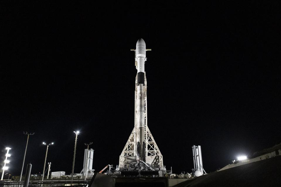 A SpaceX Falcon 9 ready to launch the 'SmallSat Express'