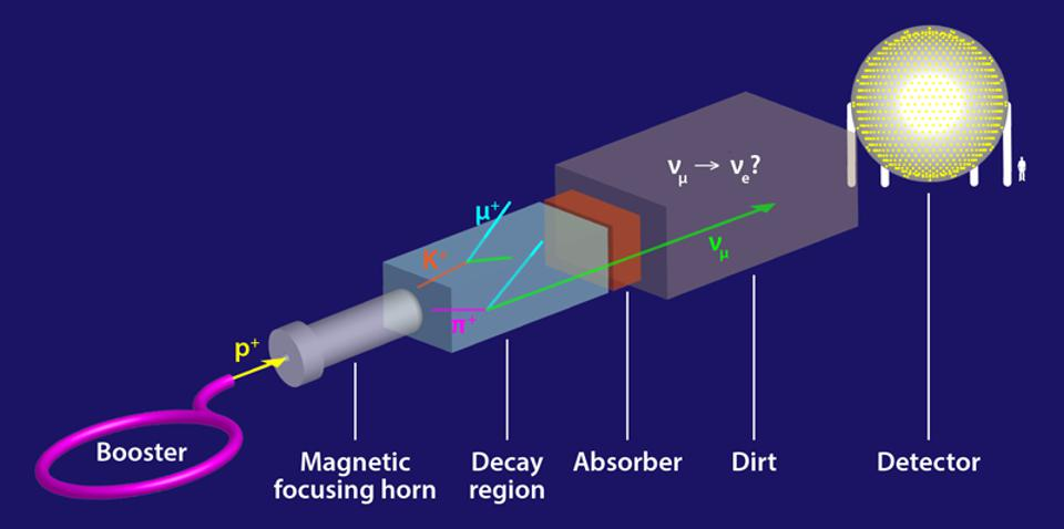 Scheme of the MiniBooNE experiment at Fermilab.