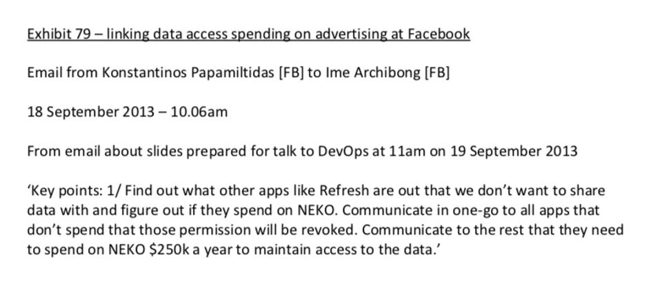 An email from Facebook's director of platform partnerships pushing for developers to spend on advertising, in order to access user data.