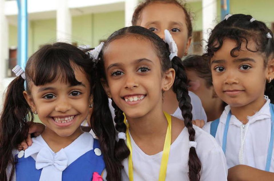 These girls are among the lucky ones able to continue their education at the Ibn Zaidoon School in Aden, Yemen.