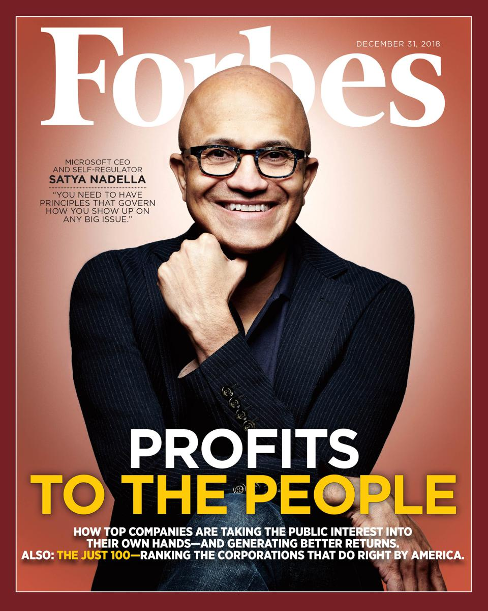 The December 31, 2018 issue of Forbes featuring Satya Nadella. Photo credit: Jamel Toppin for Forbes.