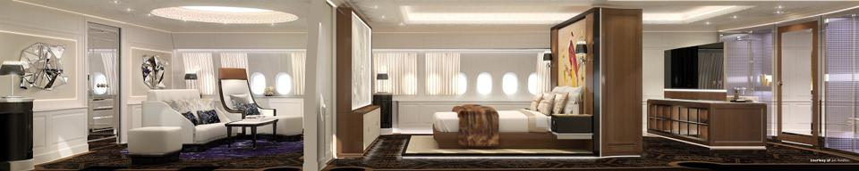 The master suite in Jet Aviation's Shaheen concept.