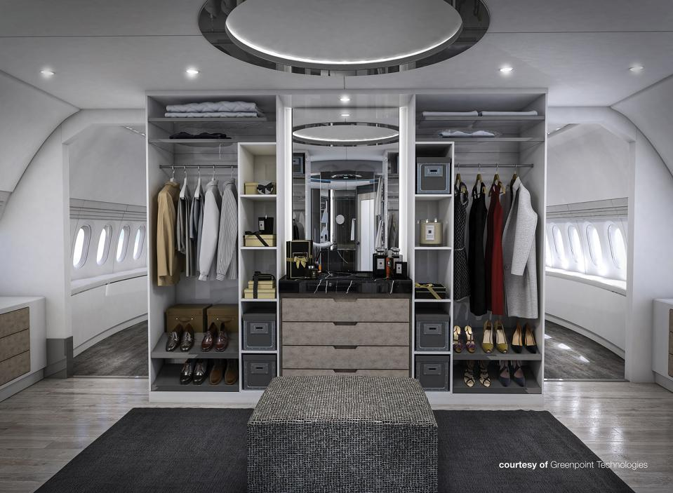 The master suite in Greenpoint Technologies' BBJ 777X concept features this posh dressing area.