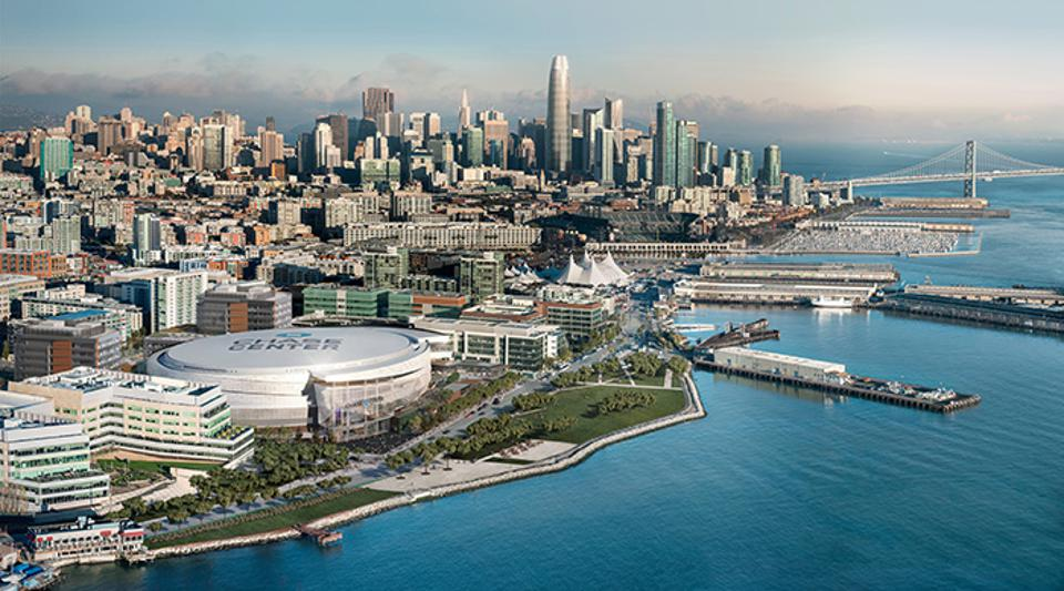 An artist's rendering of an aerial view of the new circular Chase Center on the bay in San Francisco.