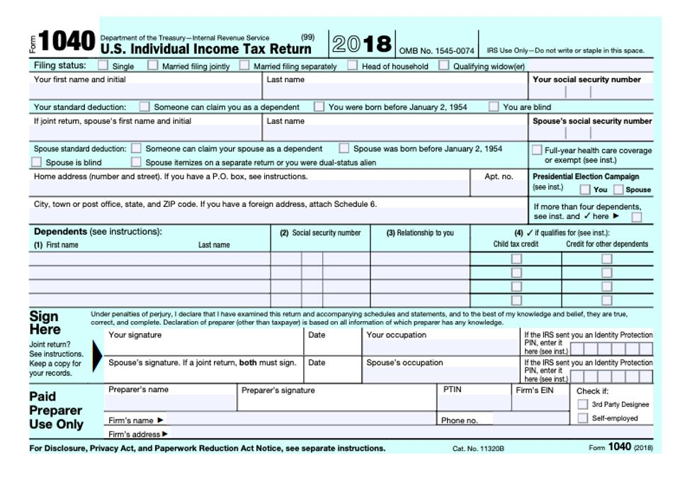 Irs Releases New Not Quite Postcard Sized Form 1040 For 2018 Plus