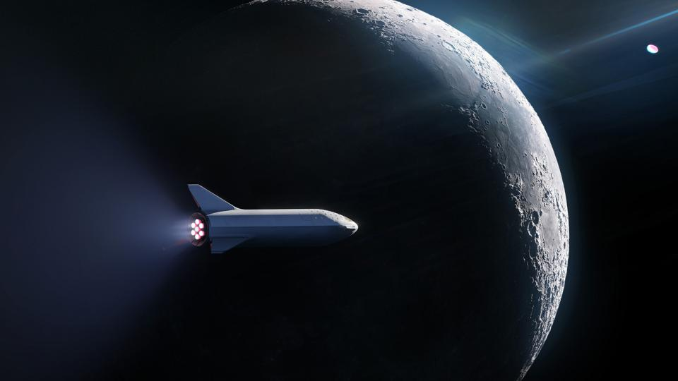 Concept art of a SpaceX rocket traveling around the Moon