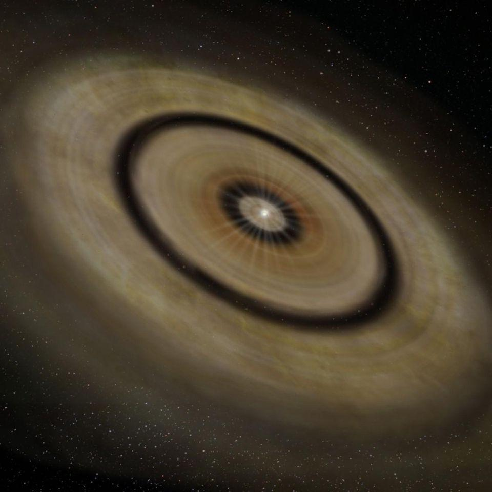Artist's rendition of a protoplanetary disk such as the one expected around TW Hydrae.
