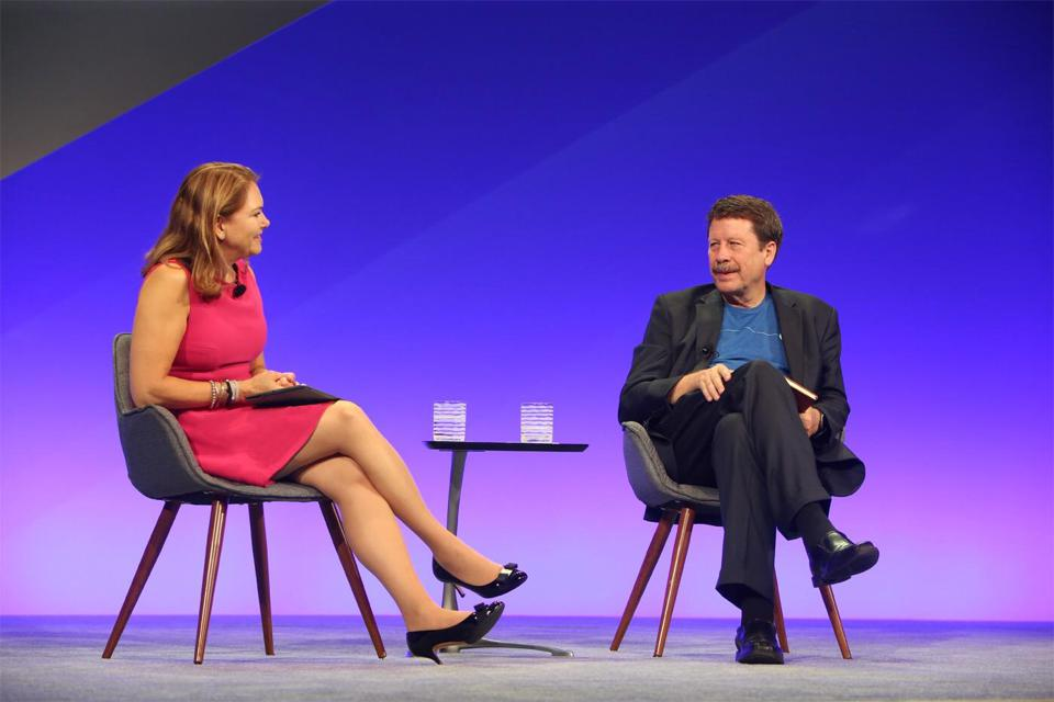 Amy Abernethy, chief medical officer of Flatiron Health, sits with Robert Califf, at a company event early this year.