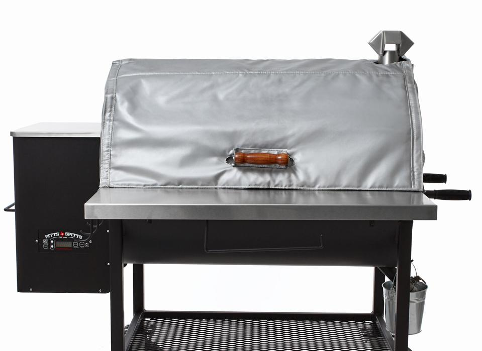 Insulated cover for Pitts & Spitts 1250 pellet smoker keeps temps consistent and reduces pellet usage in cold weather.