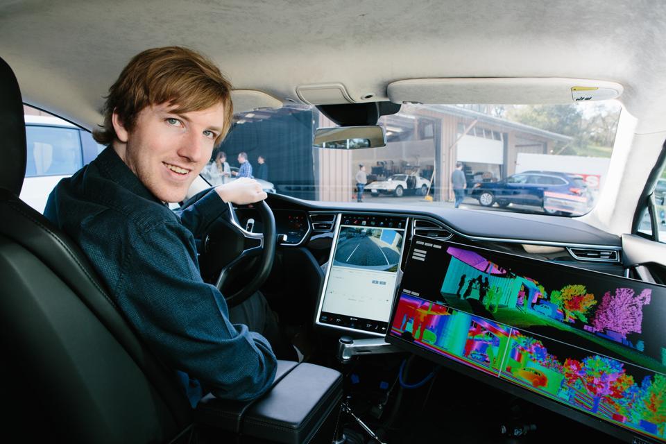 Austin in driver's seat