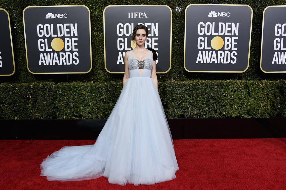 Alison Brie glows in a custom Vera Wang gown and Harry Winston jewels.