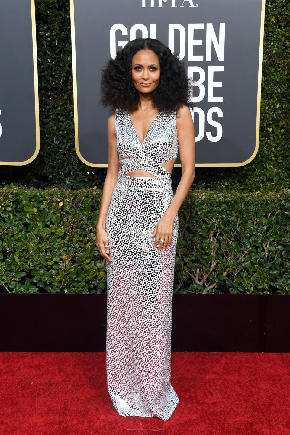 'Westworld' star Thandie Newton shines in a sequined gown by Michael Kors Collection.