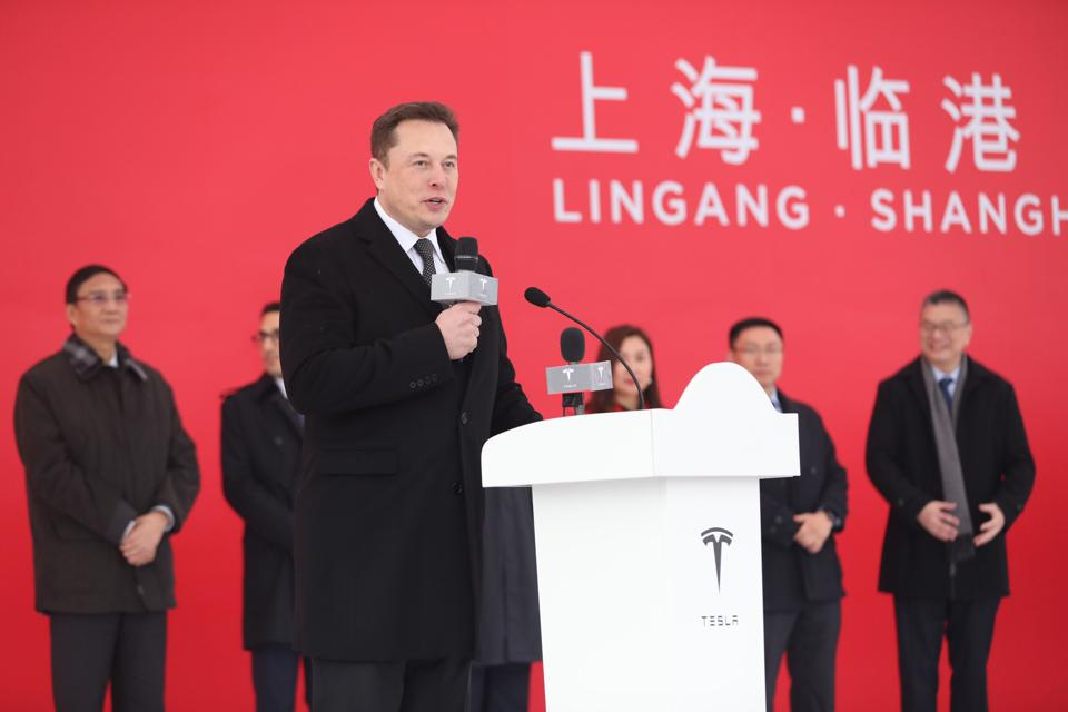 Tesla CEO Elon Musk at the January 7 groundbreaking for the company's Gigafactory 3 in Shanghai.