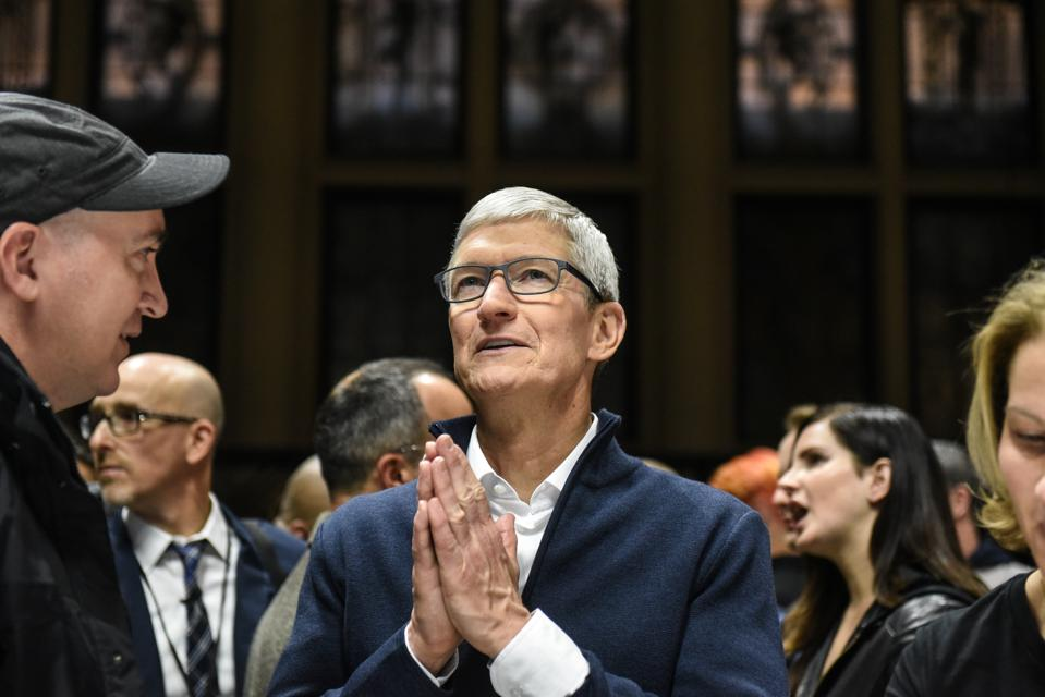 Apple CEO Tim Cook speaks while unveiling new products during a launch event at the Brooklyn Academy of Music on October 30, 2018 in New York.