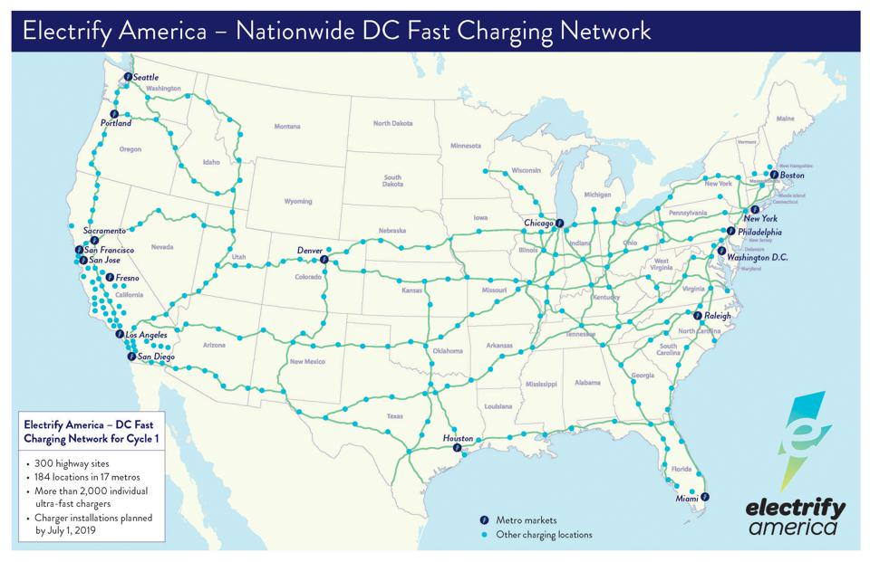 Volkswagen-owned Electrify Americ's U.S. fast-charging network map.