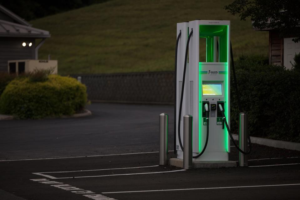 An Electrify America charging kiosk.