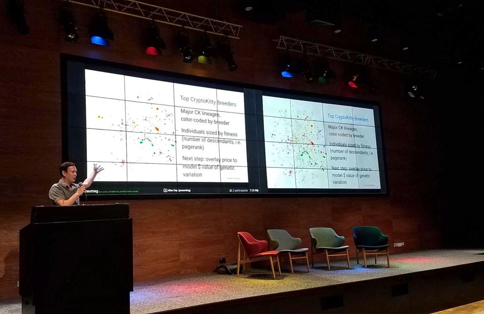 Google Cloud developer advocate Allen Day presents his early cryptocurrency work at Google's Asia Pacific headquarters in Singapore in August 2018.