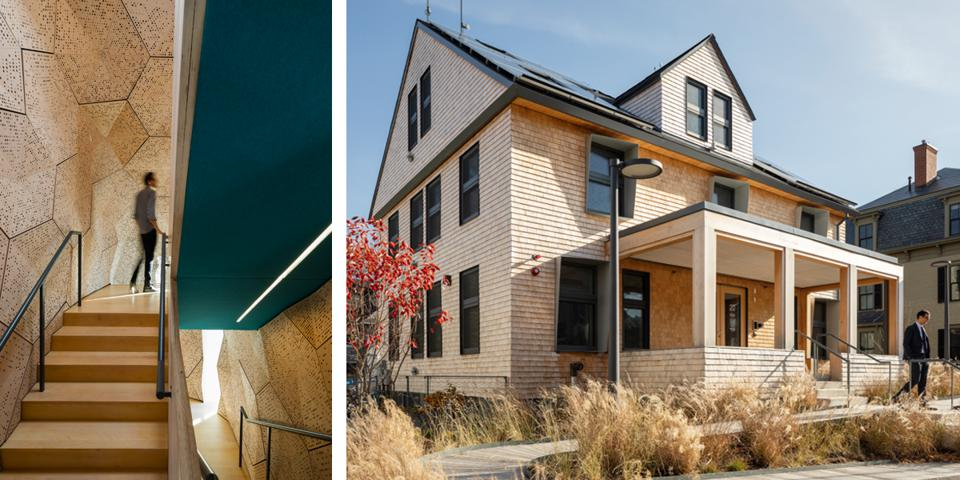 Built in 1924 to house a family, HouseZero retains some residential charm. The interior had to be optimized for work, so the architects padded the central stairwell to limit noise, creating a visual focal point in the process.