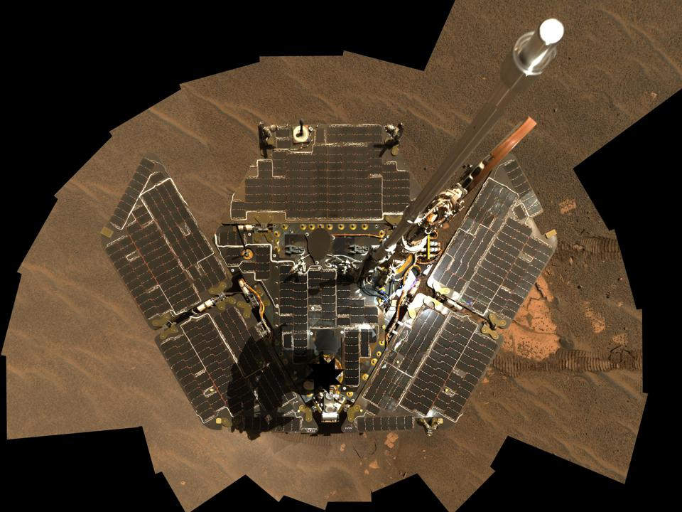 Opportunity took this self-portrait in December 2004