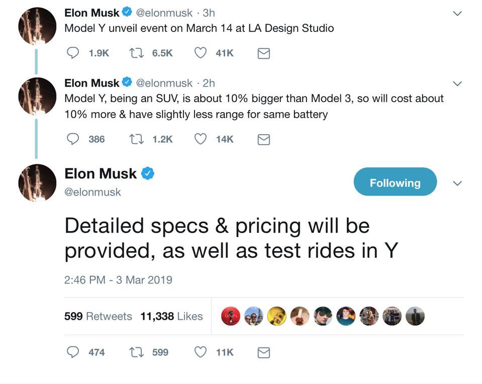 Musk Model Y tweet